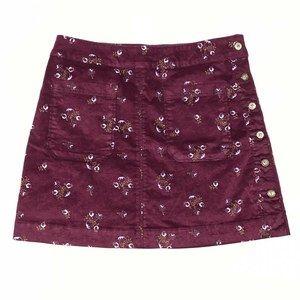 Free People Good Times Velvet Floral A-Line Skirt